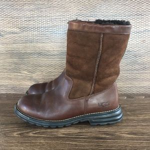 Ugg Brooks Brown Leather Suede Boots